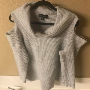 Gray Ribbed Cold Shoulder Cowl Neck Sweater